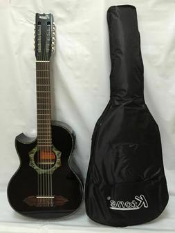 12 string Bajo Sexto Acoustic Electric Guitar Black, with Gi