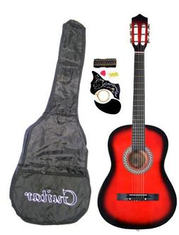 "38"" Inch Student Beginners RED Acoustic Guitar with Carrying"