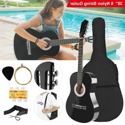 """38"""" Beginners Acoustic Guitar with Guitar Case, Strap, Tuner"""