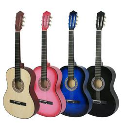 """38"""" Wooden Beginners Acoustic Guitar With Guitar Case Strap"""