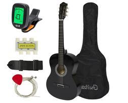 38in Beginner Acoustic Guitar Starter Kit w/Case, Strap,Digi