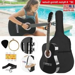 "39"" Beginners Acoustic Guitar with Guitar Case, Strap, Tuner"