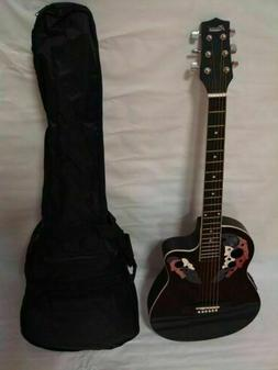 6 String Acoustic Electric Guitar, Round Back, Black, Free G
