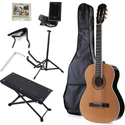 ADM Full Size Nylon-String Classical Guitar with Gig Bag, E-