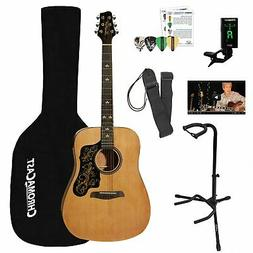 Sawtooth Acoustic Dreadnought Guitar  with Case, Tuner, Stan