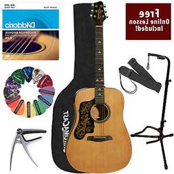 Acoustic Full size Guitar Pack Rich sound with Gig Bag Stand