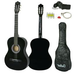 "Black Wooden Acoustic Guitar 38"" Full Size Adult Kids W/Case"