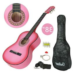 "Beginner Package Guitar Kids Musical Gift 38"" Pink Acoustic"