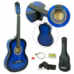 HOT New Beginners Blue Hardwood Acoustic Guitar With Guitar