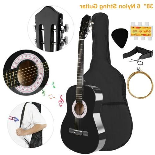 "Beginners 39.3"" Acoustic Guitar with Case, Strap, Tuner an"