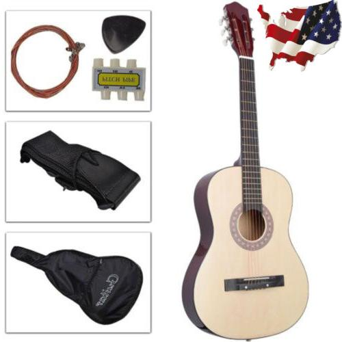 38Inch Beginners Acoustic Guitar w/Guitar Case, Strap, Tuner
