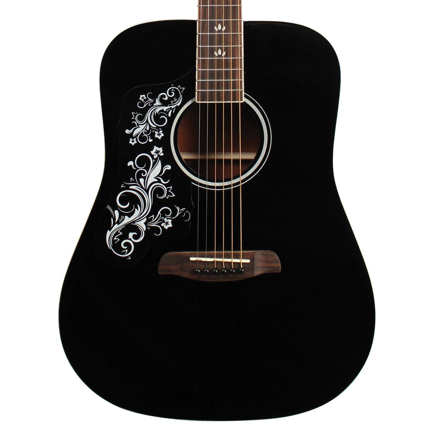 Sawtooth Black Acoustic Dreadnought Guitar with Custom Pickg