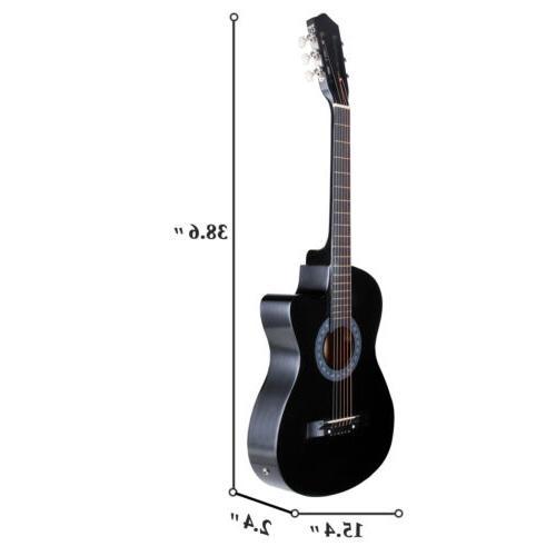 "38"" Acoustic Cutaway Design Case,Strap,Tuner"