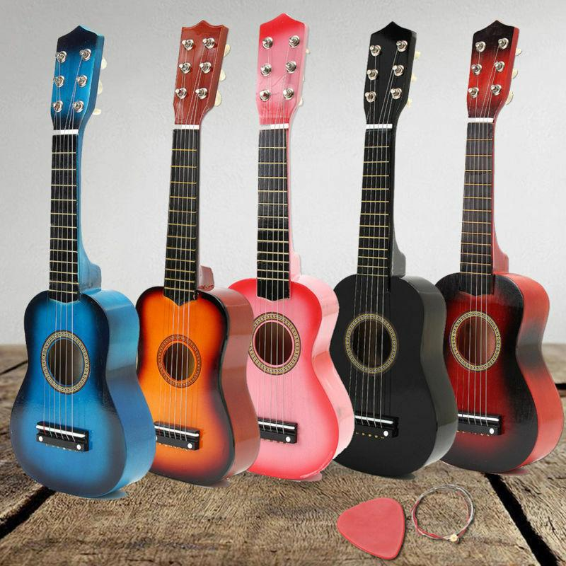 Mini Acoustic Guitar For Kids Beginners Compact Wood Musical