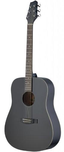 Stagg SA30D-BK Dreadnought Acoustic Guitar with Linden Top -