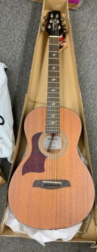 Sawtooth Solid Top Mahogany Parlor Acoustic-Electric Guitar