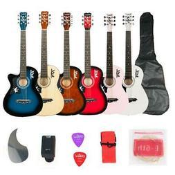 DK-38C Basswood Acoustic Guitar +Bag+String+Pick+Tuner Acces