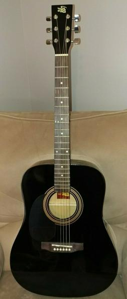 Rogue RA-090 Dreadnought Acoustic Guitar Black. Brand New in